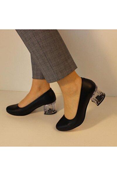 Sansage Visible Yuvarlak Burun Şeffaf Topuklu Klasik Ayakkabı