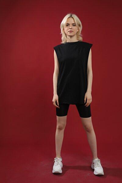 Kadın Siyah Pamuk Bisiklet Yaka Kolsuz Örme T-shirt