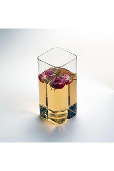 Dikdörtgen Isıya Dayanıklı Trend Meyve Suyu Tatlı Detoks Bardağı - Kare Bardak (1 Adet 300 Ml 12 Cm)