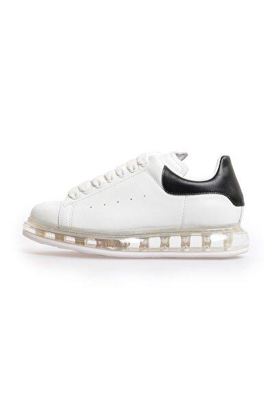 Beyaz Siyah Deri Şeffaf Taban Kadın Sneakers