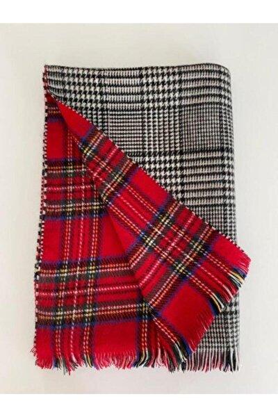 Kadın Kırmızı İskoç Desen Çift Taraflı Yumuşak Dokulu Atkı