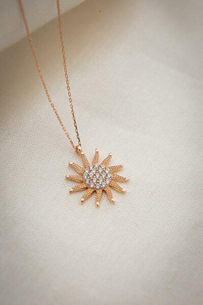 925 Ayar Rose Altın Kaplama Zirkon Taşlı Gümüş Güneş Kolye