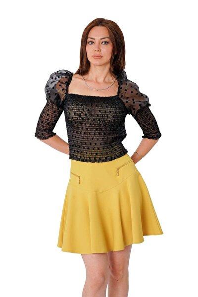 Kadın Siyah Gipeli Puantiyeli  Bluz Y-7590
