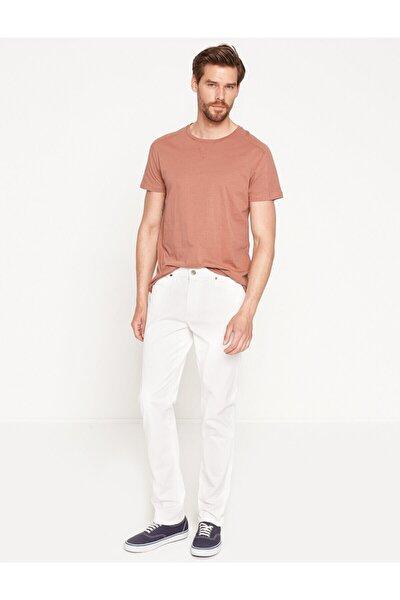 Erkek  Beyaz Dar Kesim Pantolon 7YAM49050OW