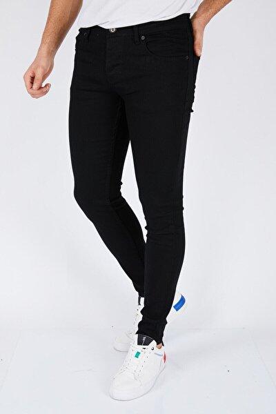 Erkek Siyah Düz Slim Fit Likralı Dar Paça Kot Pantolon