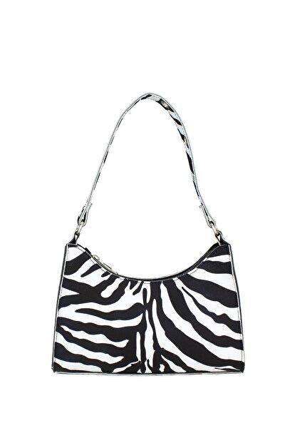 Kadın Zebra Desenli Baguette Çanta 195