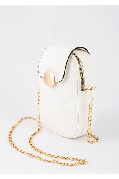 Kadın Beyaz Telefon Bölmeli Gold Detaylı Omuz Çantası