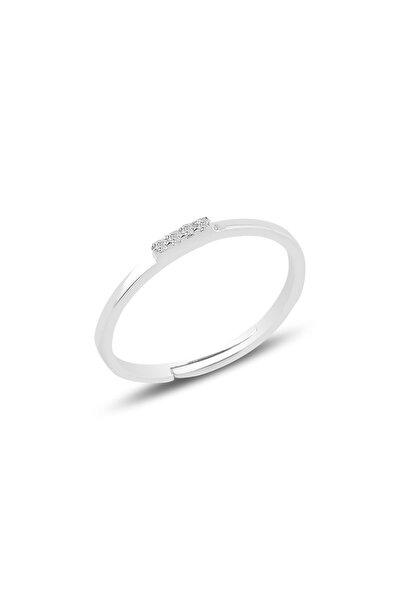 Gümüş Rodyumlu Zirkon Taşlı Ayarlamalı Elegant Gümüş Yüzük