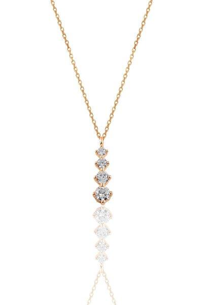 Gümüş Rose  Zirkon Taşlı Pırlanta Modeli Pırıltı Kolye