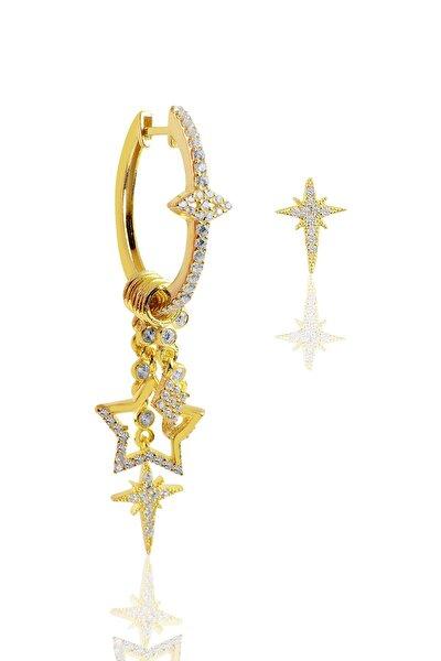 Gümüş Altın Yaldızlı Zirkon Taşlı Kutup Yıldızı Şans Küpesi