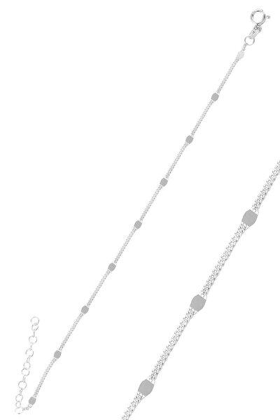 Gümüş Rodyumlu  Pullu Gurmet  Zincir Bileklik