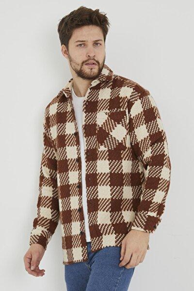 Erkek Taba Slim Fit Tek Cep Kareli Hakiki Oduncu Gömleği