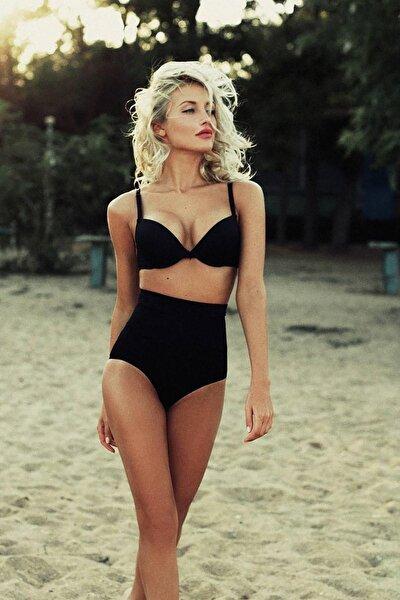 Kadın Siyah Yüksek Bel Kaplı Bikini