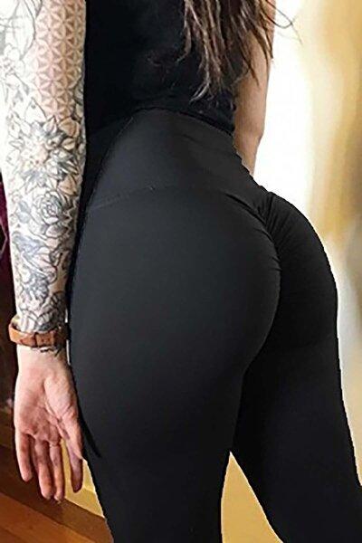 Kadın Siyah Kalça Tasarımlı Tayt