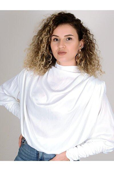 Kadın Beyaz Saten Bluz