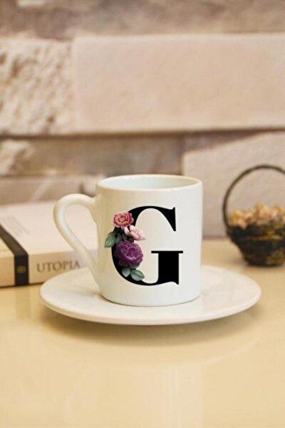 G Harfli Baskılı Beyaz Türk Kahvesi Fincanı