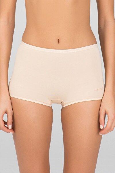 Kadın Bej Penye Likra Compact Basic Short Külot 2 Li