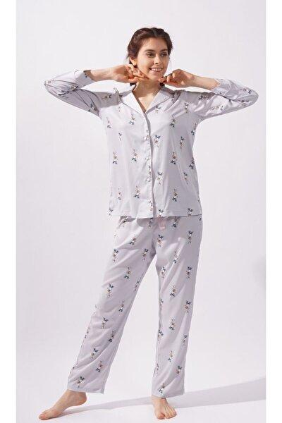 Teddy Bear Kadın Saten Pijama Altı -gri