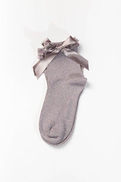 Kadın Fiyonk Detaylı Çorap - Gümüş
