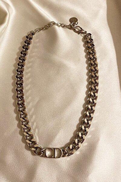 Harfli Kalın Zincir Gümüş Renk Kolye