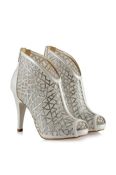 Kadın Beyaz Gri Taşlı Kafes Model Gelin Ayakkabısı