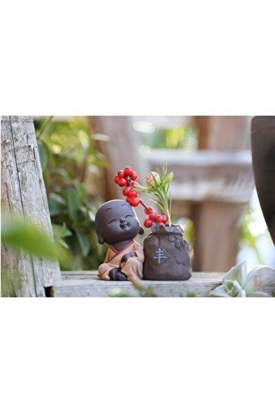 Biblo Tütsülük Süs Hediye 8cm Mini Keşiş Buda Çay Seti Minyatür Hidroponik Vazo Figürü 2021