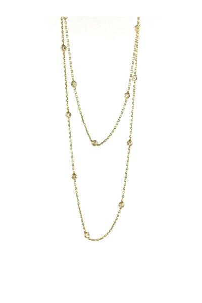 Gold Rengi Toplu Uzun Gümüş Zincir