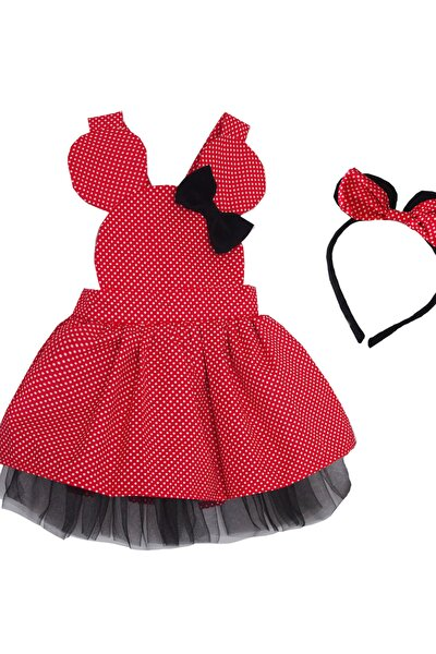 Kız Çocuk  Kırmızı Puantiyeli Elbise  Taç Takım
