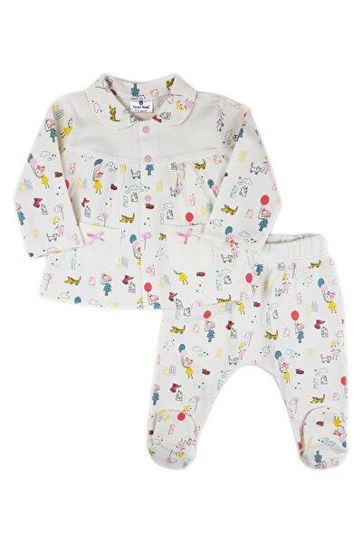 Kız Bebek Beyaz Balon Bebe Yaka Pijama Takımı
