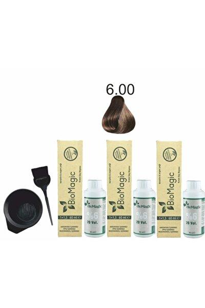 Organik Saç Boyası 6.00 Koyu Kumral 60ml X3 Adet+oksidan 90ml+boyama Seti