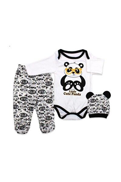 Unisex Bebek Beyaz Üçlü Panda Badili Takım