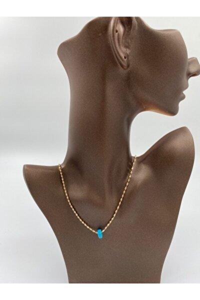 Kadın Gold Zincir Ucu Mavi Boncuk Kolye