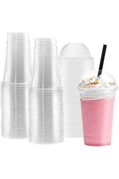 550cc Pet Plastik Limonata Milkshake Bardağı 10 adet Kapaklı