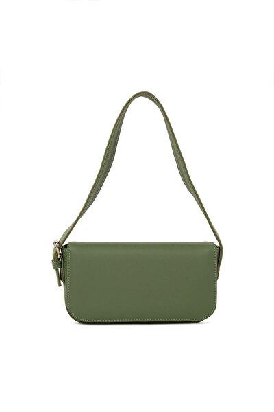Kadın Yeşil Kapaklı Kalıp Baget Omuz Ve Çapraz Çanta
