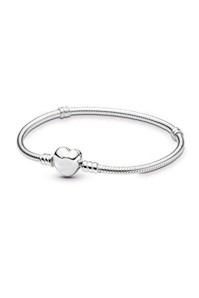 Pandora Tarzı Gümüş Kaplama Kalp Bileklik Eh01by