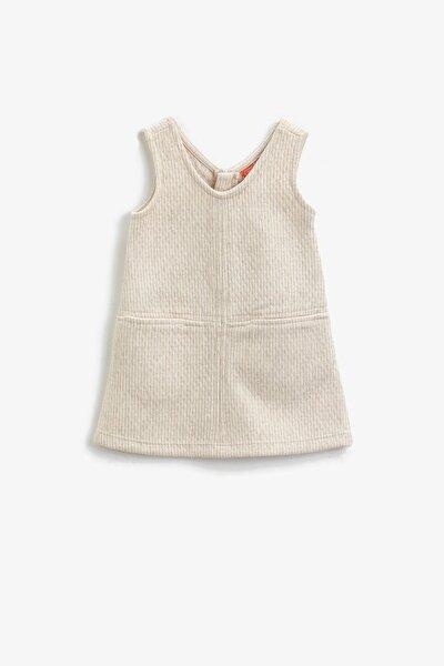 Ekru Çizgili Kız Bebek Elbise