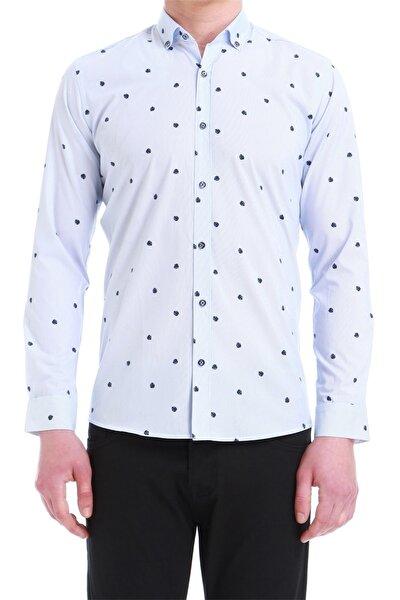 Erkek Mavi Slim Fit Klasik Gömlek Gk 550