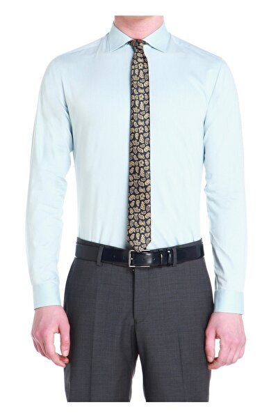 Erkek Turkuaz Slim Fit Klasik Gömlek Gk 533