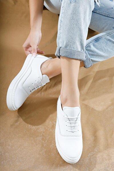 Hakiki Deri Beyaz Kadın Deri Sneaker Vns-m01