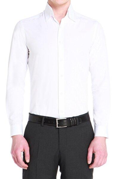 Erkek Beyaz Slim Fit Klasik Gömlek Gk 525