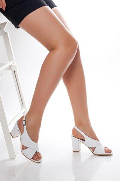 Hakiki Deri Beyaz Kadın Topuklu Deri Ayakkabı Shn-0100