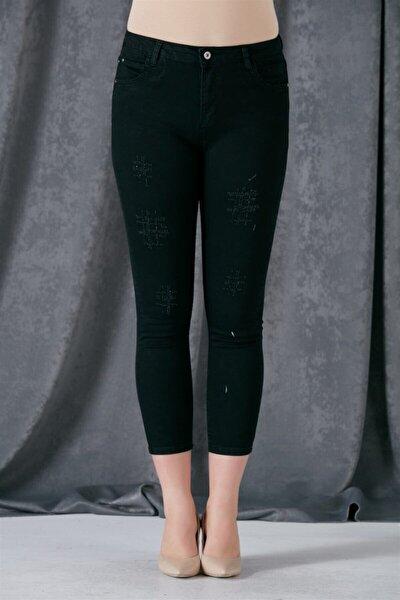 Kadın Siyah Taş Detaylı Kot Pantolon