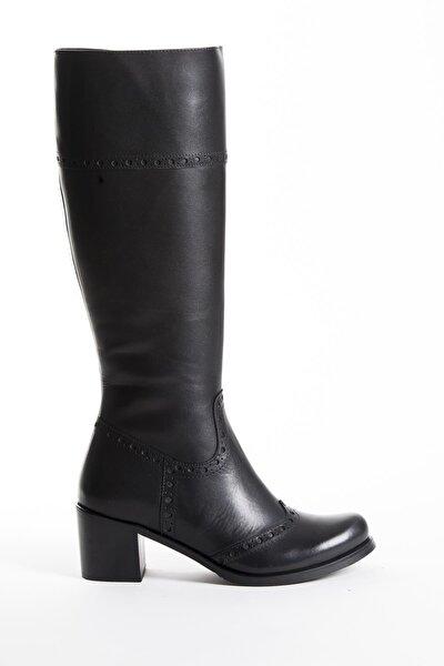 Hakiki Deri Siyah Kadın Deri Çizme Dp01-2755