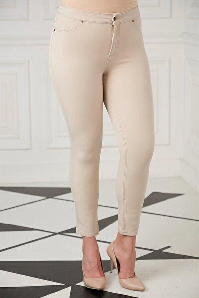 Kadın Taş Renk Cep Detaylı Büyük Beden Pamuk Pantolon