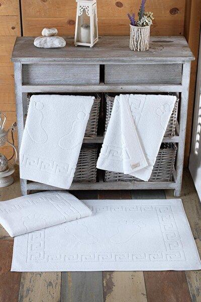 4 Adet Talia Serisi Ayak Havlusu 50x70 200gr Beyaz