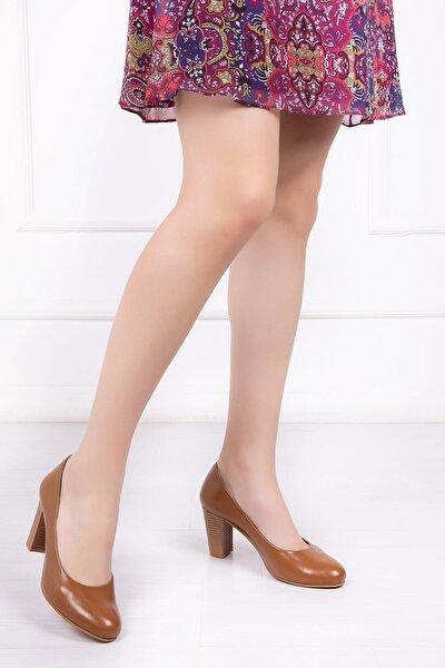 Hakiki Deri Taba Kadın Topuklu Deri Ayakkabı Shn-0736