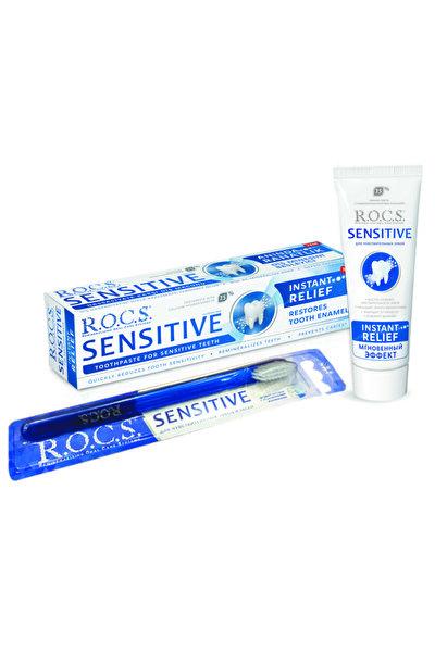 Rocs Sensitive Instant Relief - Anında Ferahlık Florürsüz Diş Macunu + Soft Diş Fırçası Seti