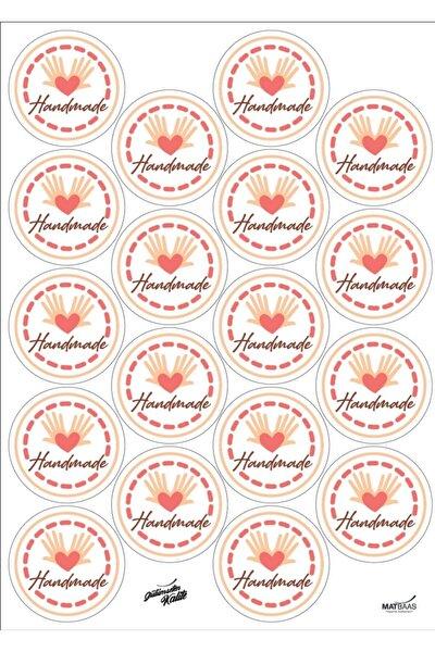 Handmade El Yapımı Etiket Sticker 4 X 4 Cm 72 Adet