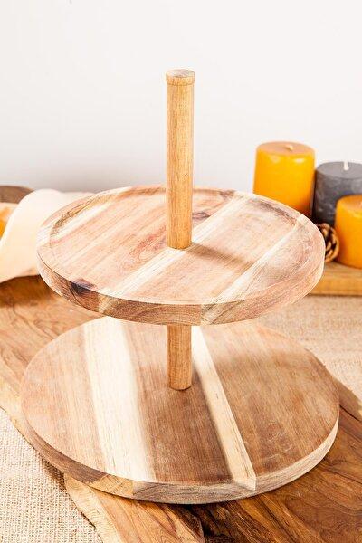Gurme 25,5cm 2 Katlı Bambu Sunum Rafı