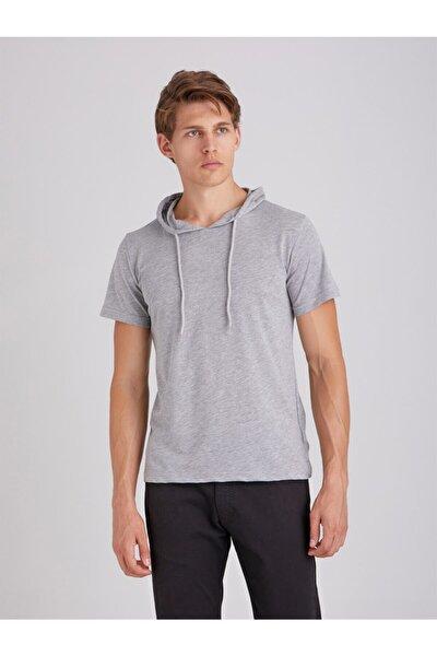 Erkek Gri Kapüşonlu Kısa Kol Pamuklu T-Shirt